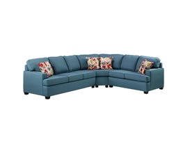 A-Class fabric sectional in deep sea blue 1515