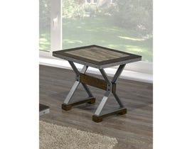 Brassex Venetian wood top End Table in walnut brown DX1605C-ET
