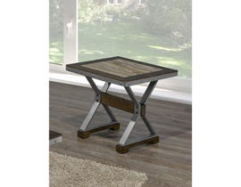 Brassex Venetian wood top End Table in walnut brown DX1605C-ET