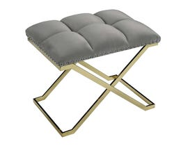 K Elite Light Grey Suede with Gold Base Bench 16122-GR