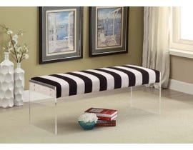 K Elite Tessa Zebra Stripe Velvet Fabric Seating Bench in Black/White 1615