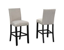"Brassex Indira 29"" Bar Stool with Nail-Head Trim Set of 2 Beige 162-29 BEI"