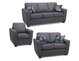 SBF Upholstery Alex 3-Piece Fabric Living room Set in Anthracite Grey 1636