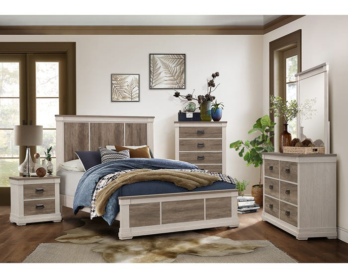 680 Grey Wood Bedroom Set King New HD
