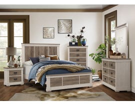 Mazin Two-Toned Engineered 6Pc Wood King Bedroom Set  in White and Weathered Grey 1677