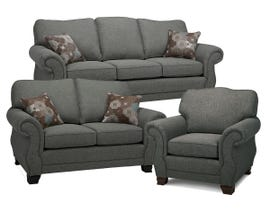 SBF Upholstery Kingston Series Fabric Sofa Set in Arbour Grey 1683