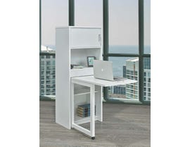 Brassex Multi-Tier Bookcase with Fold Down Desk White  172092 WH