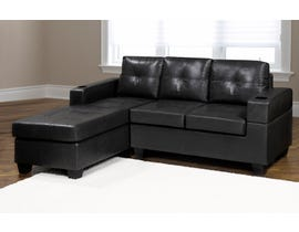 Kwality Denis Series Leather Air Sectional in Black 1801
