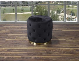 K Elite Round Tufted Ottoman with Stainless Steel Gold Base in Black 18253-BT-OTT-BK