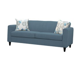 Edgewood Furniture Double Fabric Sofa Bed with Floral Blue Toss Pillows in Tahiti Aqua 1889-80