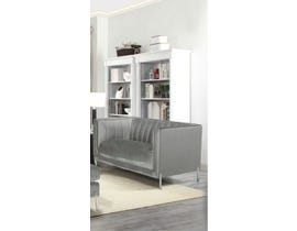 K Living Arthur Velvet Suede Fabric Love Seat with Metal Legs in Grey 19043-L