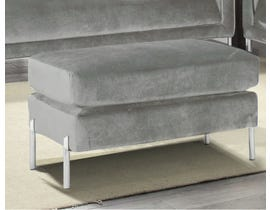 K-Living Arthur Velvet Suede Fabric Ottoman with Metal Legs in Grey 19043-O