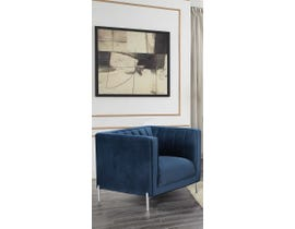 K-Living Arthur Velvet Suede Fabric Single Sofa Chair with Metal Legs in Blue 19043-C