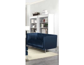 K Living Arthur Velvet Suede Fabric Love Seat with Metal Legs in Blue 19043-L