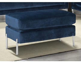 K-Living Arthur Velvet Suede Fabric Ottoman with Metal Legs in Blue 19043-O