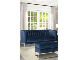 K Living Arthur Velvet Suede Fabric Sofa with Metal Legs in Blue 19043-S