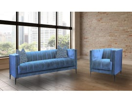 EWOOD Studio Juliette Series 2pc Fabric Sofa Set in Royal Blue/Roxboro Ocean 1925