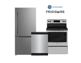 GE/Frigidaire 3pc Appliances Package in Stainless JCB630SKSS/FFCD2413US/MDE19DSNKSS