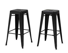 Brassex Mercury Collection 30 inch metal bar stool (set of 2) in matt black 202229B
