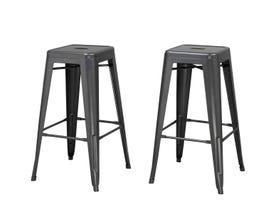 Brassex Mercury Collection 30 inch metal bar stool (set of 2) in matt grey 202229G