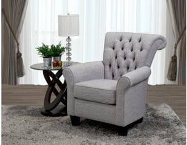 SBF Upholstery Seymour Collection fabric roll  back accent chair rich grey 2023