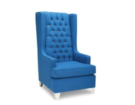 SBF Upholstery Royal Collection Tight Back Crystal Tufted Fabric Accent Chair in Blue Finish  2039