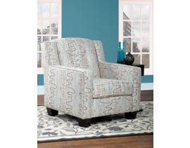 Sofa By Fancy Oketo Collection Designer Print Fabric Accent Chair Multi-Color with Cream Finish 2049
