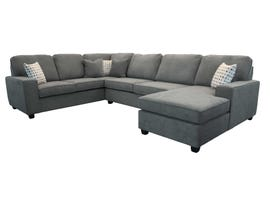Edgewood Furniture 3pc LHF Sofa Sectional in Kirkland Charcoal 2065