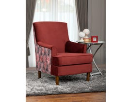 SBF Upholstery Optima Collection designer two tone print fabric accent chair Red Finish 2075