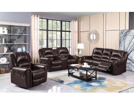 Fresh Leather Air Reclining Sofa Set in Brown 6019