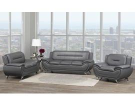 Brassex Riley 3pc Bonded Leather Sofa Set in Grey 2220-13