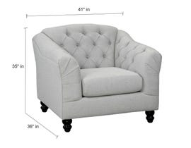 Sofa by Fancy Malvern Collection Fabric Chair Tufted Back with Crystals in Light Grey finish 2225-3