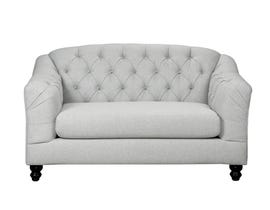 SBF Upholstery Malvern Collection Fabric Loveseat Tufted Back with Crystals in Light Grey 2225-2