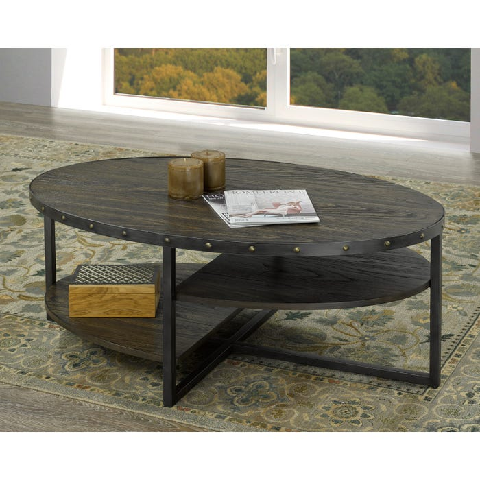 Brassex Oxford wooden Coffee Table with metal legs in espresso brown 223-02