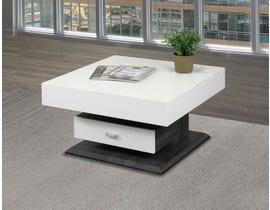 Brassex Rotating glossy Storage Coffee Table in white 226-02