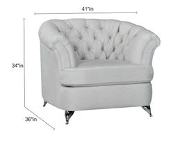 Sofa by Fancy Cadenza Collection Fabric Chair Tufted Back with Crystals in Gleam Cream finish 2268-3