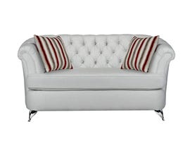 Sofa by Fancy Cadenza Collection Fabric Love Seat Tufted Back with Crystals in Gleam Cream finish 2268-2