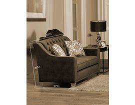 SBF Upholstery Brighton Collection Tufted Back Fabric Loveseat with Button in Cocoa 2269 -2