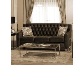 Sofa by Fancy Brighton Collection Tufted Back Fabric Sofa with Button in Cocoa Finish 2269 -1
