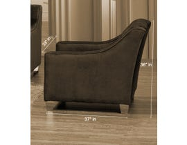 SBF Upholstery Brighton Collection Tufted Back Fabric Chair with Button in Cocoa 2269 -3