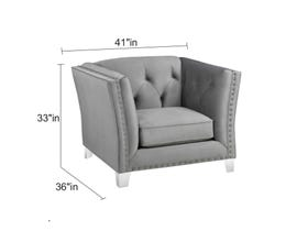 Sofa By Fancy Addison Collection Tight Back Tufted Fabric Chair with Button in Molfino Silver 2555-3