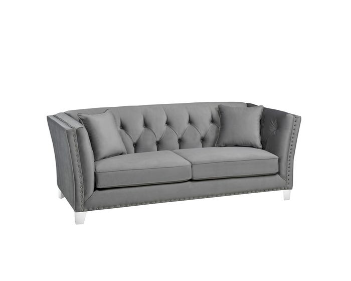 Pleasing Sofa By Fancy Addison Collection Tight Back Tufted Fabric Sofa With Button In Molfino Silver 2555 1 Gmtry Best Dining Table And Chair Ideas Images Gmtryco
