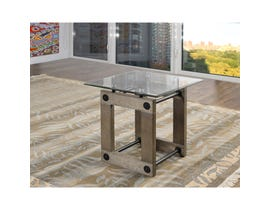 Brassex Fresno glass End Table in grey finish 280-06
