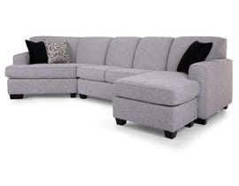 Decor-Rest RHF Fabric Sectional in Victoria Grey 2805