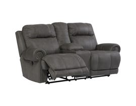 Signature Design by Ashley Double Reclining Leather Look Loveseat w/ Console in Grey 3840194