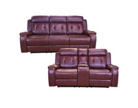 Baker Series 2pc Leather Gel Sofa Set in Cognac 170