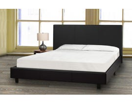 Brassex Queen Platform Bed and Mattress Set in Black 3032 Q BLK-P