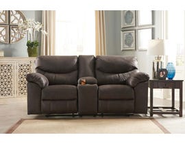Signature Design by Ashley Reclining Leather Look Loveseat with Console in Teak 3380394C