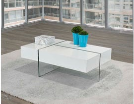 Brassex Storage glossy Coffee Table with Tempered Glass in White 340-02