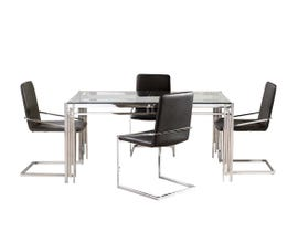 MAZ 5pcs Dining Set with Glass Top &  Faux Leather Chairs 3645-59